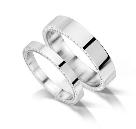 Flat with inset edge channel eternity/wedding ring, platinum. 2.5mm x 1.7mm.